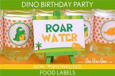 Dino Birthday Party  Food Labels & Bonus Toothpick by LeeLaaLoo, $5.00