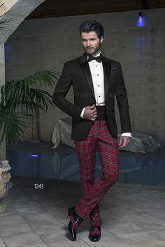 Abito sposo con Dinner Jacket nera in lana e pantalone Tartan