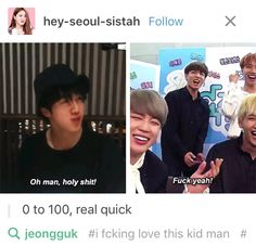 """Fuck yeah!""... jungkook we're never going to let this go << I will pay actual money to hear Jungkook say ""Fuck"".."