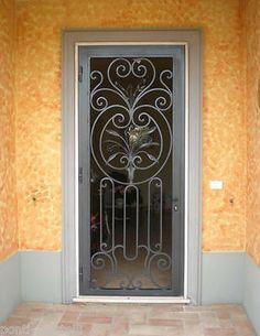 Wrought Iron Security Doors, Steel Security Doors, Wrought Iron Doors, Metal Gates, Iron Gates, Folding Attic Stairs, Iron Front Door, Window Grill Design, House Gate Design