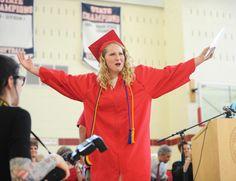 Graduate Amy Zunino elicits applause during the Bridgewater-Raynham Regional High School graduation on Sunday, June 5, 2016. — Marc Vasconcellos/The Enterprise