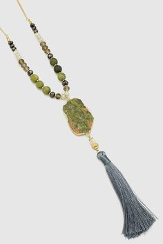 Tassel Raw Stone Beaded Necklace