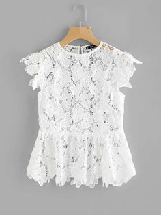 Shop See Through Floral Guipure Lace Top online. SheIn offers See Through Floral Guipure Lace Top & more to fit your fashionable needs. Look Fashion, Fashion Design, Dressy Tops, Blouse Outfit, Mode Style, African Dress, Lace Tops, Lace Dress, Lace Peplum