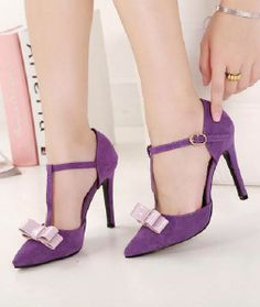 Purple Bow T-Strap Stiletto