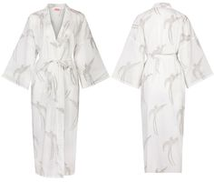 KIMONO STYLE Ladies Dressing Gown   Long Tailed Bird Olive on White    Lightweight 100% 0a6a82874
