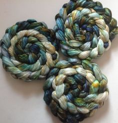 Roving for spinning  50/50 hand dyed silk merino by FiberArtemis, $13.50