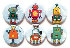 Robots Magnets Kids - Space Magnet Set - Outer Space Robots Fridge Magnets - Funny Cute Robots for Kids - Robot Clipart, Kids Magnets, Tea Coaster, Robots For Kids, Refrigerator Magnets, Simple Bags, Drawing Challenge, Kid Spaces, Outer Space