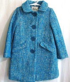 NWOT Mini Boden Girls Size 3-4Y Turquoise Blue Tweed Boucle Wool Blend Coat  #MiniBoden #BasicCoat #DressyEveryday