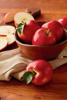 Beautiful red apples are a tasty sign of fall. Crisp and delicious. These seasonal apples are grown and tended with care; handpicked to ensure top notch quality.