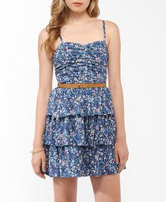Flounced Floral Dress w/ Belt | FOREVER21 - 2000047001