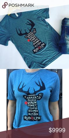 Christmas Reindeer Tee ☃ It's never too early to get your Christmas tees! Will ship by 10/15  Price will be $36 Tops Tees - Short Sleeve