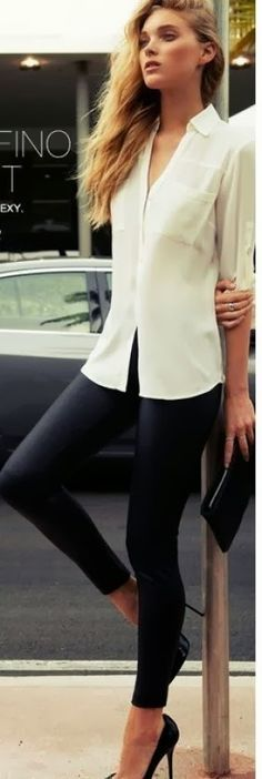 see more Attractive Tights with White Shirt, Clutch Bag And High-Heeled Shoes, Love It