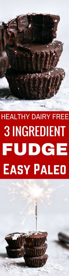 Make in Minutes! healthy 3 ingredient paleo fudge. Best vegan Christmas chocolate desserts.