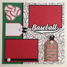 "Handmade Premade ""Baseball"" 12""x12"" Scrapbook Page, Hey Batter, Layout, Scrapbooking"