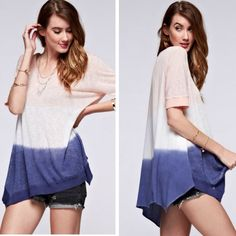 Ombré Asymmetrical Semi Sheer Top Blush white and navy ombré coloring top with asymmetric hem.  Lowest prices are listed upfront. Semi sheer. Material is 100%rayon. No additional discounts...due to a family emergency all items are being lowered as closet is closing and therefore price will be firm will no further discounts! Tops