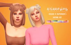 """arianesims: """" CRAZYCUPCAKEFR's short buns hair recolour by arianesims """"another hair recolour! i'm enjoying doing these, and i wanted this cute hairstyle in @simlishsweetie's di immortales palette, so..."""