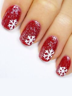 (December) no glitter and snowflake only on one finger Holiday nails. CLICK.TO.SEE.MORE.eldressico.com