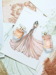 The first fragrance from the Lebanese haute couture designer Elie Saab was selected after 279 trial versions : it's an ultra-feminine, flowery-woody compisition signed by Francis Kurkdjian. It opens with notes of orange blossom; jasmine is in the. Elie Saab, Fashion Illustration Dresses, Fashion Sketches, Fashion Illustrations, Fashion Drawings, Cute Fashion, Fashion Art, Fashion Design, Fashion Photo