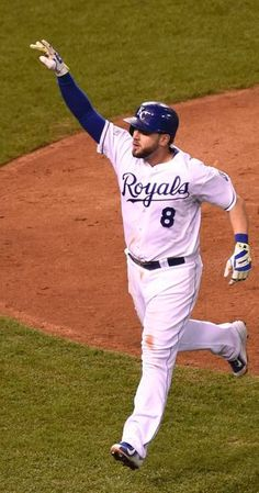 Kansas City Royals third baseman Mike Moustakas (8) celebrates his home run during the 8th during Tuesday's Kansas City Royals and San Francisco Giants Game 6 of the World Series at Kauffman Stadium on Oct. 28, 2014 in Kansas City, Missouri.