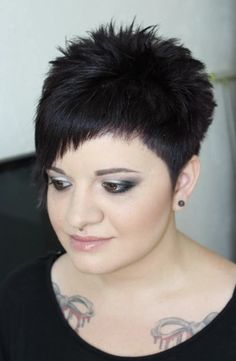 50 Simple Mind-Blowing Women Short Haircuts for Fine Hair - Glamorous short hai., 50 Simple Mind-Blowing Women Short Haircuts for Fine Hair - Glamorous short haircut on black hair - Short Spiky Hairstyles, Haircuts For Fine Hair, Short Curly Hair, Short Hairstyles For Women, Short Hair Cuts, Curly Hair Styles, Natural Hair Styles, Very Short Hair, Short Wavy