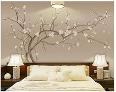 One Large Hand Drawn Plum Blossom wallpaper, Crooked Flowers Tree Wallpaper Wall Mural, White Flowers Wall Murals, Floral Tree Wallpaper Bedroom Wall, Bedroom Decor, Wallpaper Wall, Paper Wallpaper, Adhesive Wallpaper, Metal Tree Wall Art, Cleaning Walls, Flower Wall Stickers, Decoration
