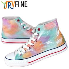 (29.99$)  Buy here - http://ai31t.worlditems.win/all/product.php?id=32765095138 - YJRVFINE High Top Harajuku Candy Rainbow Orange Green Gradient Mens Hand-painted Casual Shoes Customizable Shoes Canvas R1017M