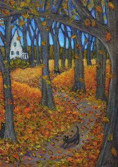 'Hide Seek in the Woods' autumn leaves cat art by Kathe Soave, ACEO art card. Halloween Prints, Halloween Pictures, Halloween Art, Holidays Halloween, Vintage Halloween, Autumn Art, Autumn Leaves, Wicca, Autumn Scenes