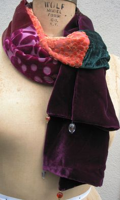 BOHO Style VELVET PATCHWORK Scarf by FashGal on Etsy, $89.00
