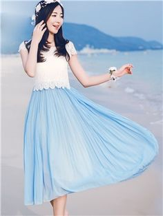 47b9c21e96 ericdress.com offers high quality Ericdress Lace Patchwork Double-Layer Maxi…  Happy Easter