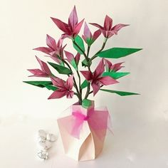 Origami Flower Branch in Origami Vase - available in shop on website