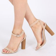 db65ebd12520 Womens Buckled Strap Barely There Wooden Effect Heels Nude Faux Suede UK  3-8: