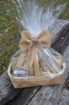 Perfect Homemade Small Gift Basket-Includes beeswax natural candles, natural chapstick, homemade natural soap-Mothers Day gift, Teacher Gift. $15.00, via Etsy.