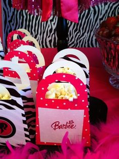 Barbie birthday party- popcorn boxes