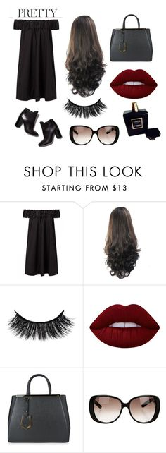 """Little black dress"" by sarabarlaup on Polyvore featuring Pierre Hardy, Lime Crime, Fendi, Gucci and Chanel"