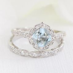 This unique bridal ring set showcases a vintage floral aquamarine engagement ring and matching scalloped diamond wedding band in rose gold. This aquamarine ring set can be made in platinum or rose, yellow or white gold. Floral Engagement Ring, Engagement Ring Settings, Vintage Engagement Rings, Vintage Rings, Vintage Jewelry, Bridal Rings, Diamond Wedding Rings, Diamond Bands, Diamond Engagement Rings