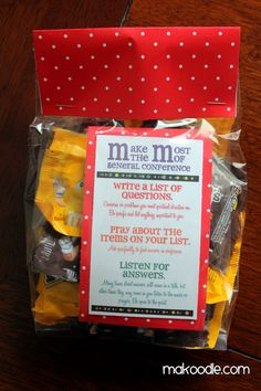 """I saw this cute idea on Sugar Doodle as a treat for general conference. Our church is doing a """"secret sister"""" activity that we give notes, quotes, treats, etc. to a secret sister for 6 weeks. For the first week, I did the M"""