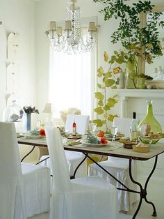 Classic Country Rooms: From tried-and-true blue-and-white palettes to vintage collections and creative repurposing, country decorating never goes out of style. Choose from a variety of lived-in, cozy looks and add comfort to every room of your house. Touch of Nature: Bring the outdoors in for relaxed country style. A yellowing grapevine casually trails out of a green vase, adding a playful touch of green to the all-white dining room. Leafy branches on the mantel and fresh flowers at each…