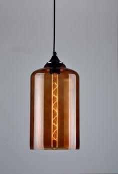 Pendant Light Danelle Hand Blown Glass In Amber or Smoke