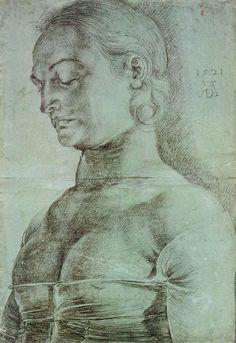 Albrecht Dürer, 1471-1528, German, St Apollonia, 1521.  Chalk drawing on green primed paper, 41 x 29 cm.  Kupferstichkabinett - Staatliche Museen zu Berlin.  German Renaissance.