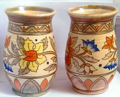 Crown Ducal Charlotte Rhead Ankara Vases | pair of Crown Ducal vases designed by Charlotte Rhead in the 1930's. They are in the Ankara pattern decorated with stylised decorative plant like pattern. Price: £64.99 GBP
