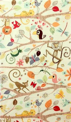 1 Yard Quilt Fabric Just Hanging Jungle Animal Fabric Modern Monkey | auntiechrisquiltfabric - Craft Supplies on ArtFire
