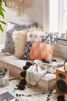 Cozy music corner with the Urban Outfitters Rohini Daybed Cushion Daybed, Living Room Furniture, Floor Pillows, Pillow Room, Daybed Cushion, Cozy Reading Corners, Zen Room, Bedroom Decor, College Bedroom Design
