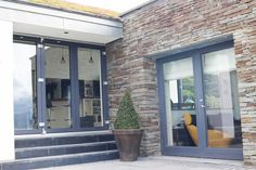 Aluclad Windows & Doors Installation by Youghal Glass, Aluclad sliding doors, French doors & bi-fold doors, fixed panoramic windows, timber entrance doors Sliding Glass Door, Sliding Doors, Entrance Doors, Stunning View, French Doors, Windows, Building, Modern, Entry Doors