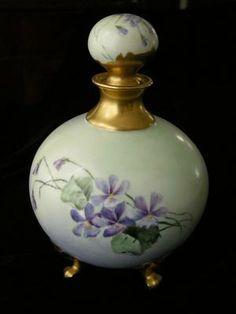 LARGE 1800's VIOLETS & GOLD Limoges Footed Perfume Bottle