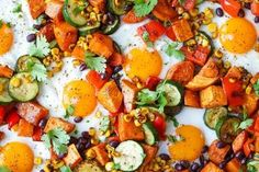 sheet pan sweet potato and black bean hash