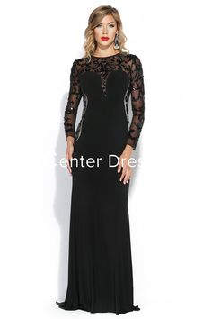 $152.89-Modest Sheath Jewel Neck Beaded Chiffon with Illusion Sleeves. http://www.ucenterdress.com/sheath-jewel-neck-illusion-sleeve-beaded-chiffon-prom-dress-pMK_301174.html.  Tailor Made mother of the groom dress/ mother of the brides dress at #UcenterDress. We offer a amazing collection of 800+ Mother of the Groom dresses so you can look your best on your daughter's or son's special day. Low Prices, Free Shipping. #motherdress