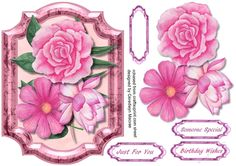 Dusky Pink Roses in a Bracket Frme  by Ceredwyn Macrae A lovely card with Dusky pink roses in a bracket frame has three greeting tags and a blank one
