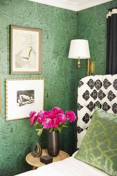 Find out where to buy Malachite decor and furniture for the home. Domino magazine shares malachite decor ideas and shopping for home decor projects. Cole And Son, Brown Interior, Design Blog, Of Wallpaper, Wallpaper Headboard, Headboard Lamp, Decorating Blogs, Interiores Design, Interior Inspiration