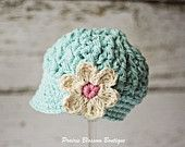 Robin's Egg Blue Crochet Baby Hat with Off White Flower, Cotton Baby Girl Hat with Visor, 3 to 6 Months