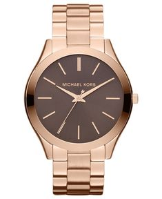 dc16fd9747fe3 Michael Kors Mid-Size Rose Golden Stainless Steel Slim Runway Three-Hand  Watch So pretty!